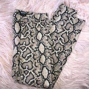 Snake print high waisted skinny jeans